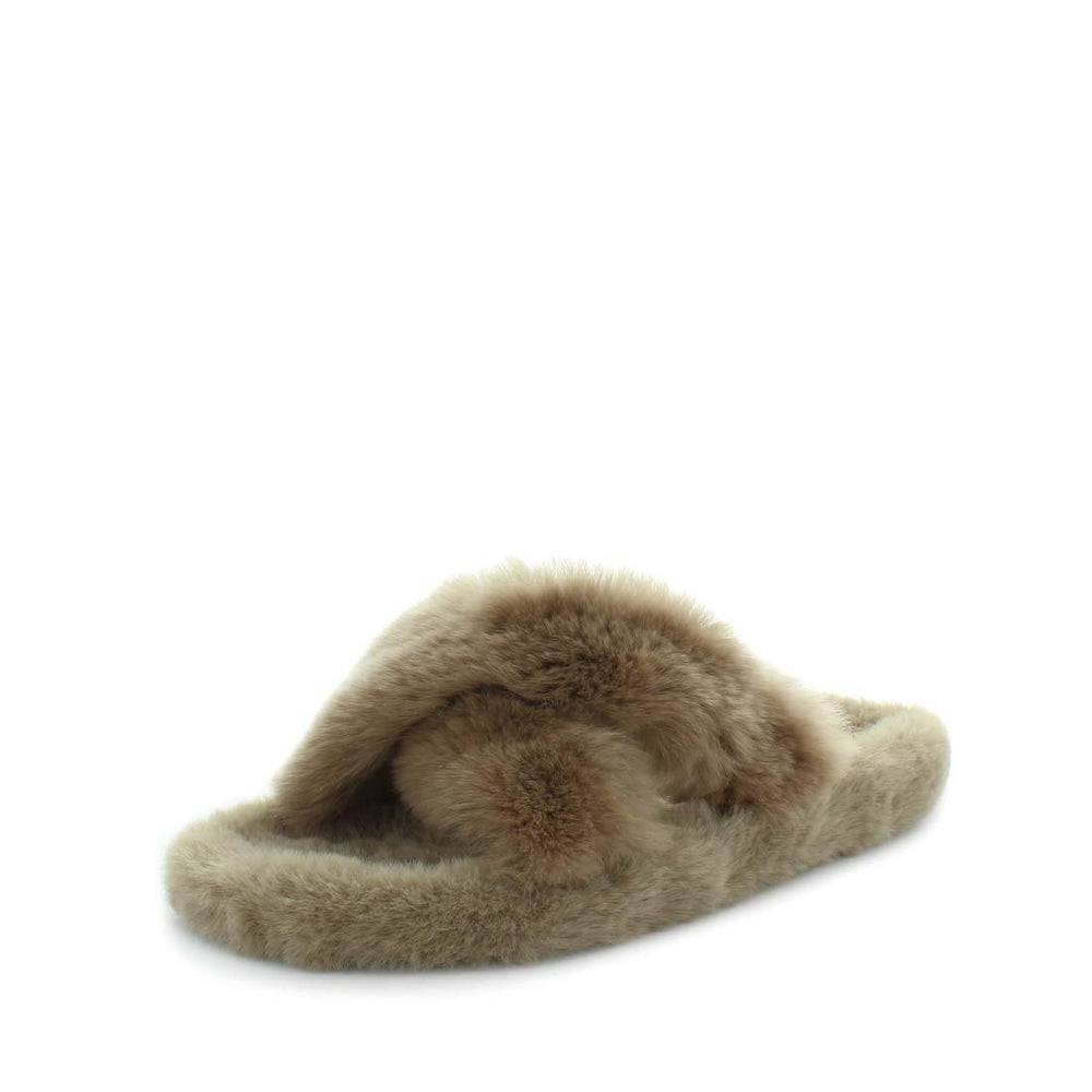 womens slippers - mushroom Ezzy slipper, by panda Slippers. A slide style slipper with a soft rabbit faux fur design. Comfy fit and criss-cross design.