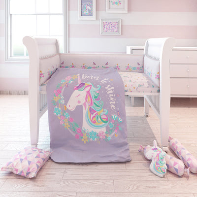 Fancy Fluff Cot Bedding Set - Unicorn  ACharmedLife.in