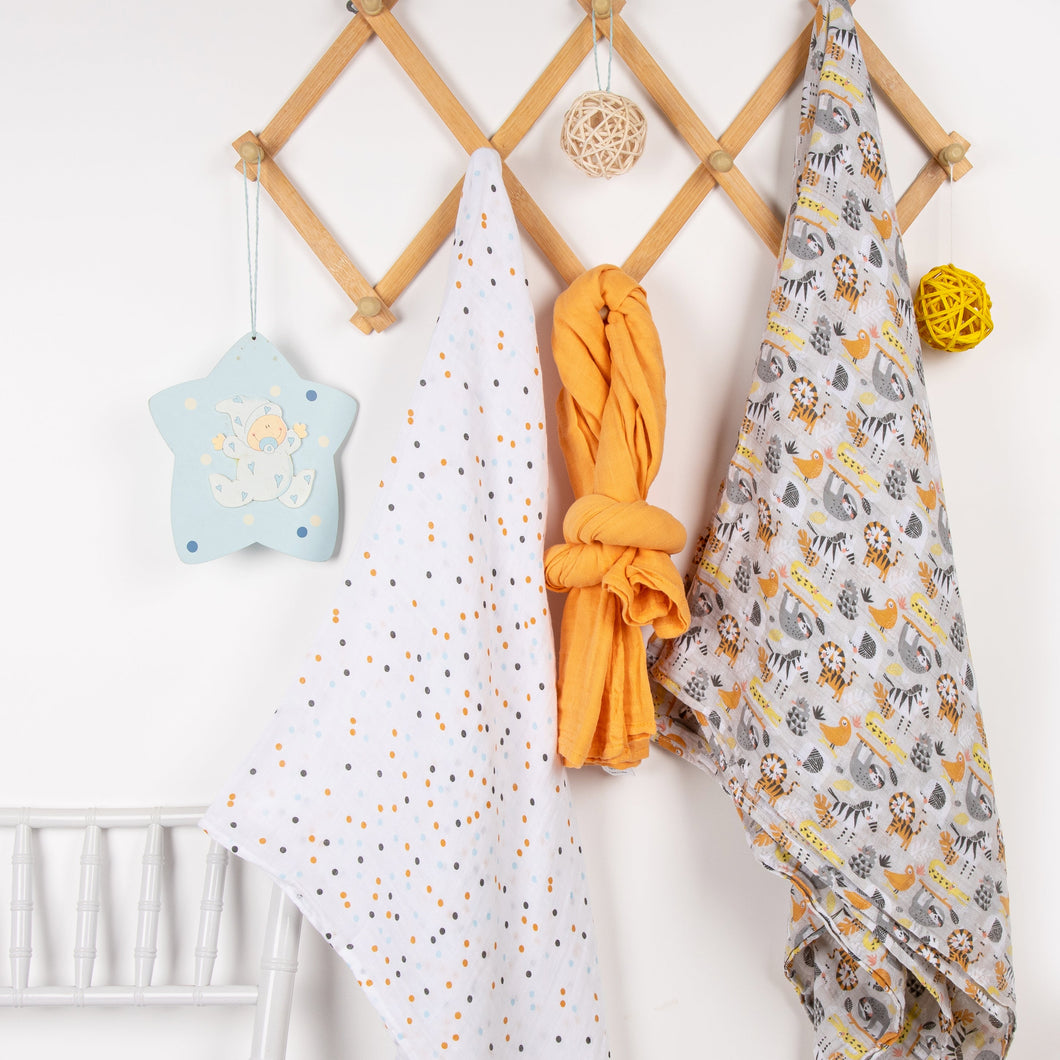 Daily Muslin Swaddles - 3 pack swaddles ACharmedLife.in