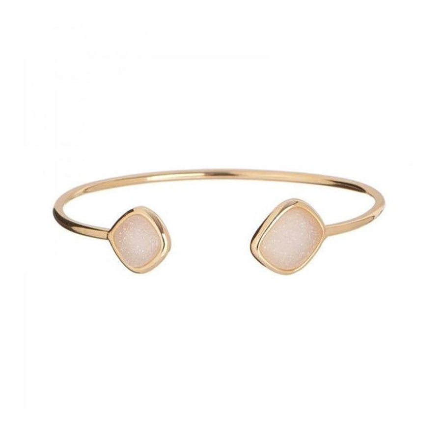 Yellow Gold Natural Druzy Open Stackable Bangle