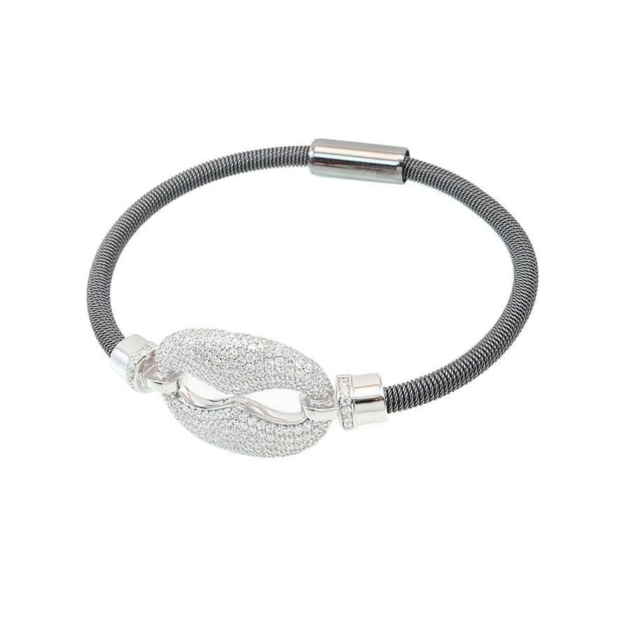 Silver Coil And Faux Diamond Magnetic Bracelet