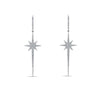 White Gold Diamond Star Drop Earrings