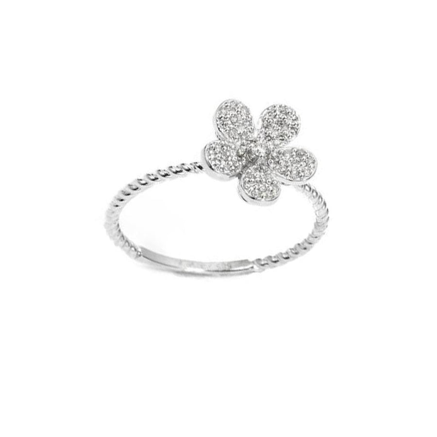 White Gold Diamond Daisy Flower Ring