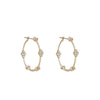 Yellow Gold Medium Flower Diamond Hoop Earrings