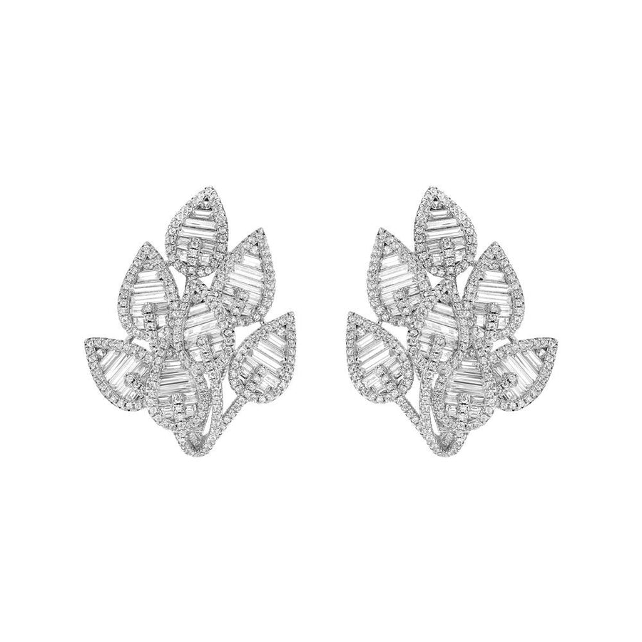 Silver Leaf Statement Baguette Faux Diamond Stud Earrings