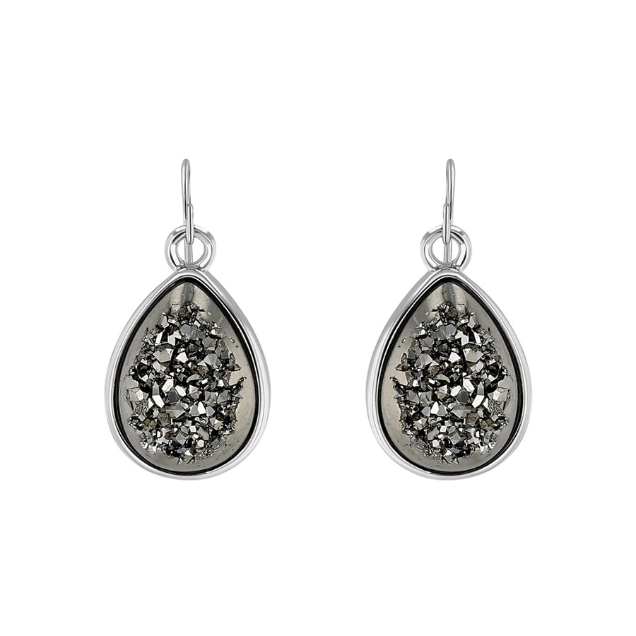 Silver Oval Black Druzy Drop Earrings