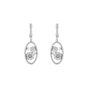 Silver Oval Faux Diamond Drop Earrings