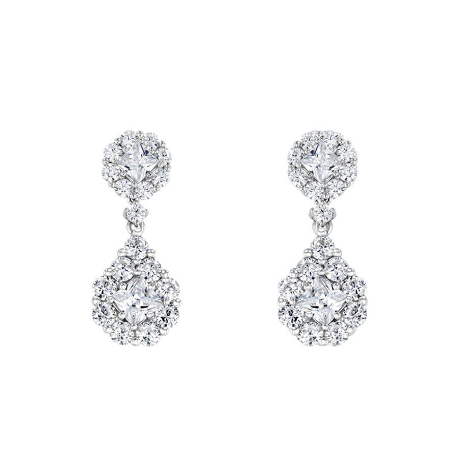 Silver Figure Eight Round Faux Diamond Drop Earrings