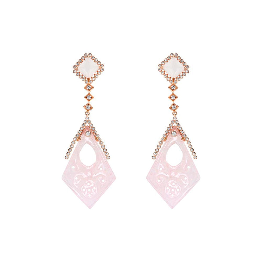 Silver Rose Quartz Lace Chandelier Earrings