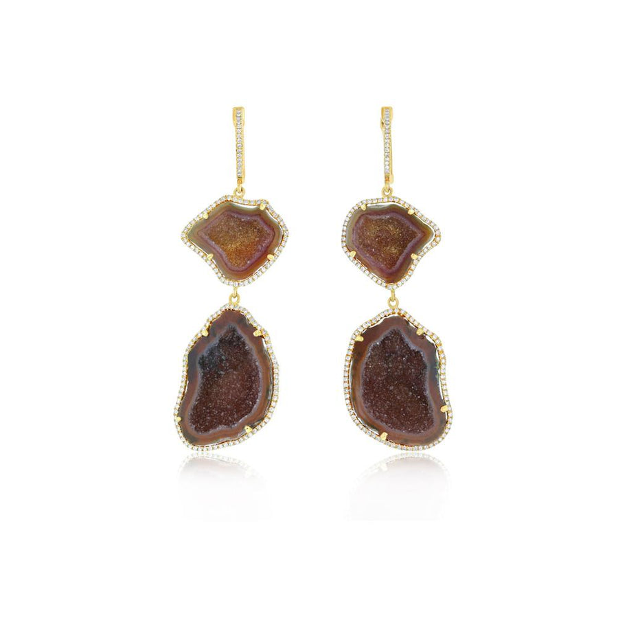 Yellow Gold Organic Amber Geode Double Drop Earrings