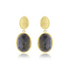 Yellow Gold Black Cats Eye Drop Earrings