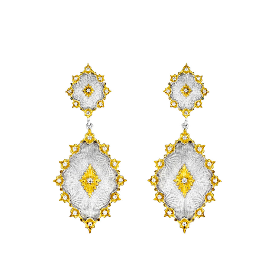 Silver And Gold Diamond Shape Double Drop Earrings