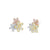 Silver Multi Metal Flower Stud Earrings