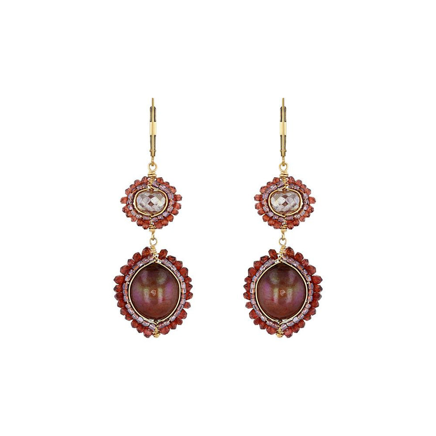 Yellow Gold Rouge Mix Double Drop Earrings