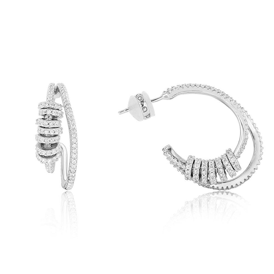 Silver Rondell Double Hoop Earrings