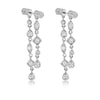 Silver Double Barrel Faux Diamond Multi Drop Earrings