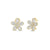 Silver Baguette Flower Stud Earrings