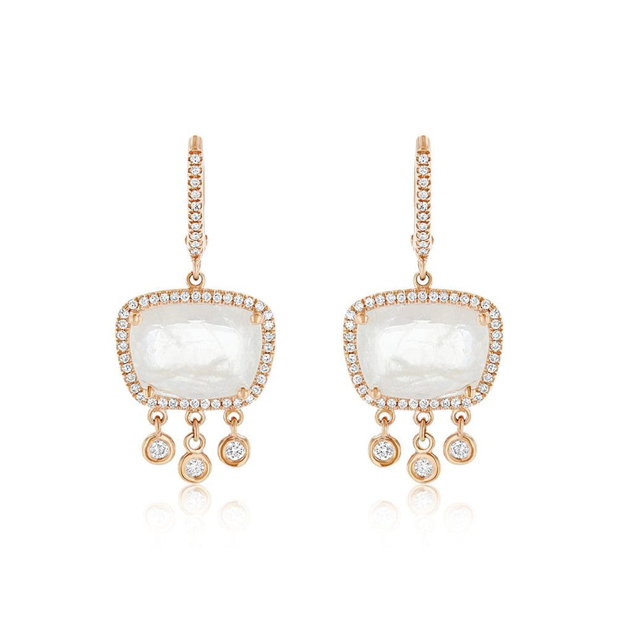 Rose Gold Diamond And Moonstone Drop Earrings