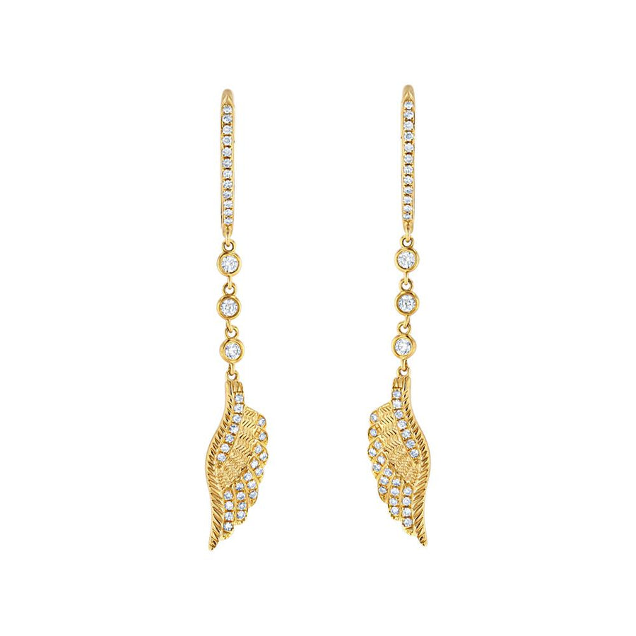 Yellow Gold Diamond Feather Drop Earrings