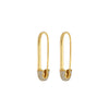 Yellow Gold Diamond Safety Pin Drop Earrings
