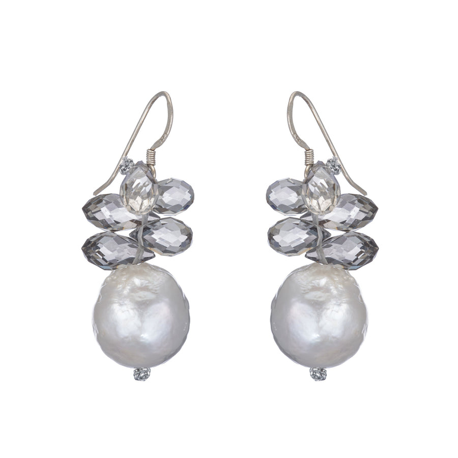 Pearl Grey Briolette Drop Earrings
