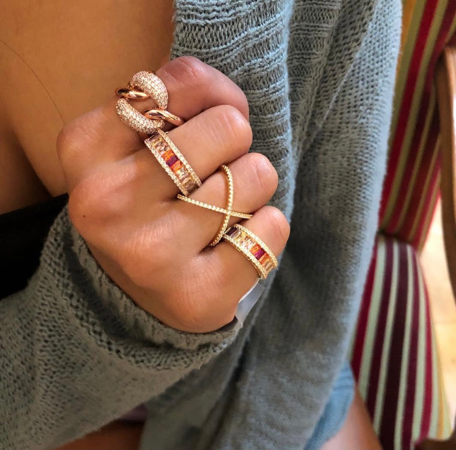 Rose Gold Faux Diamond Link Ring