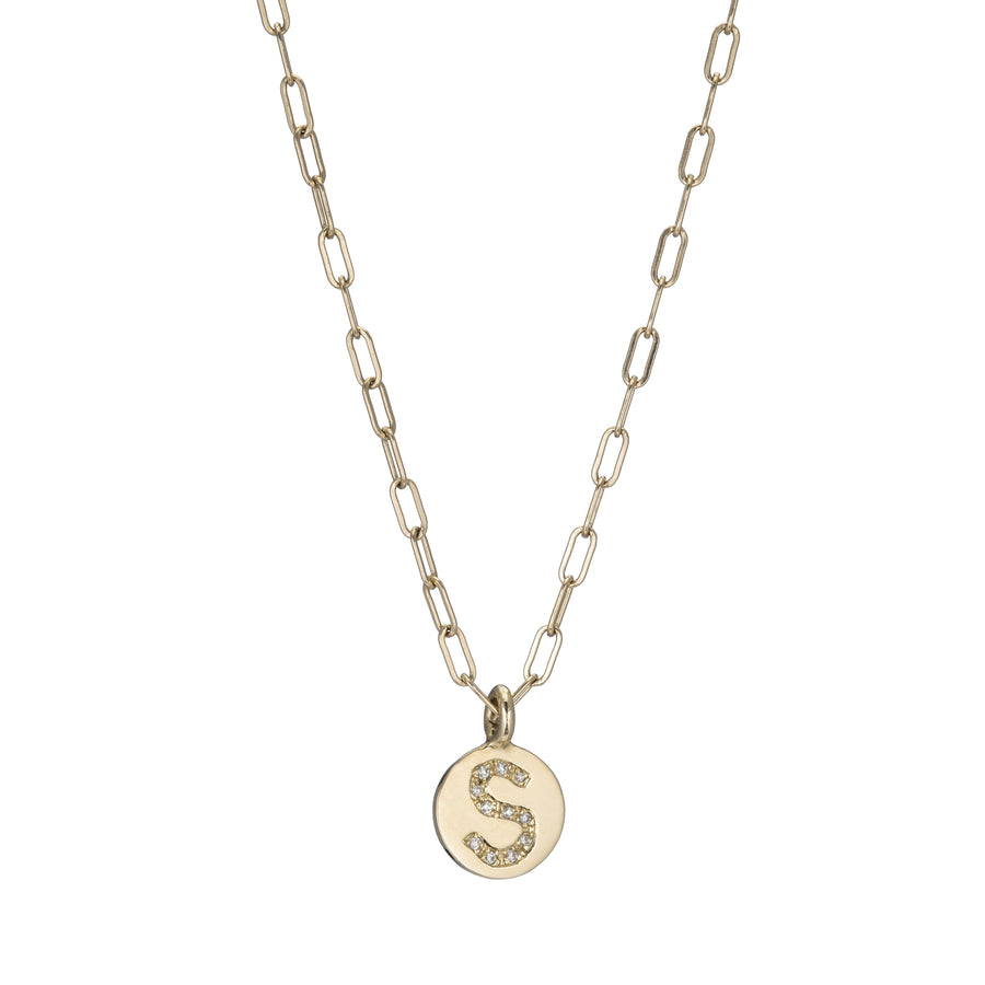 "Yellow Gold Initial ""S"" Disk Pendant Necklace"