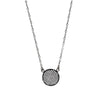 Black Faux Diamond Disk Necklace