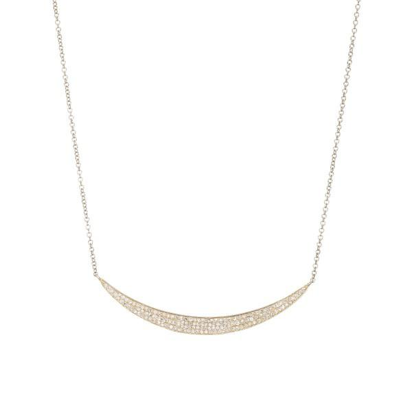 Yellow Gold Diamond Crescent Necklace