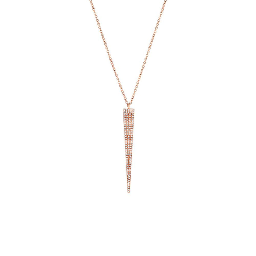 Rose Gold Diamond Vertical ID Bar Necklace