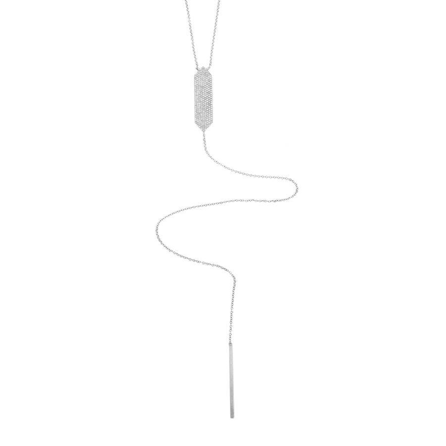 White Gold Luxe Pave' Vertical Bar Lariat Necklace