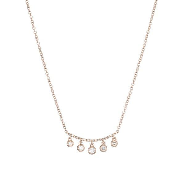 Rose Gold 5 Diamond Dangling Necklace