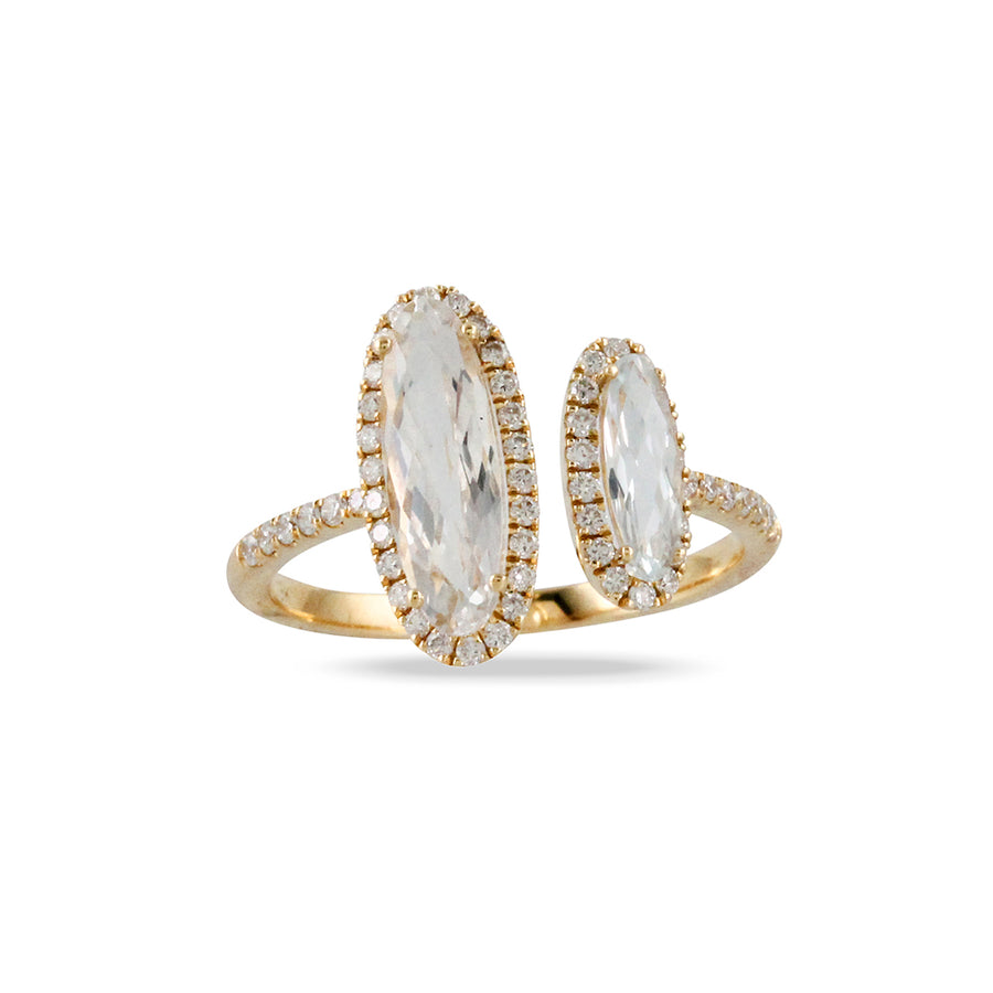 Yellow Gold Double Oval White Topaz Diamond Ring
