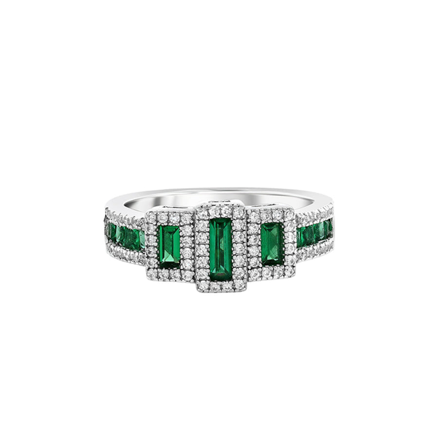 Silver Emerald Green And Faux Diamond Ring
