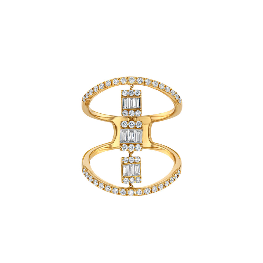 Yellow Gold Halo Diamond Baguette Cocktail Ring