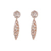 Silver Rose Plated Baguette Diamond Drop Earrings