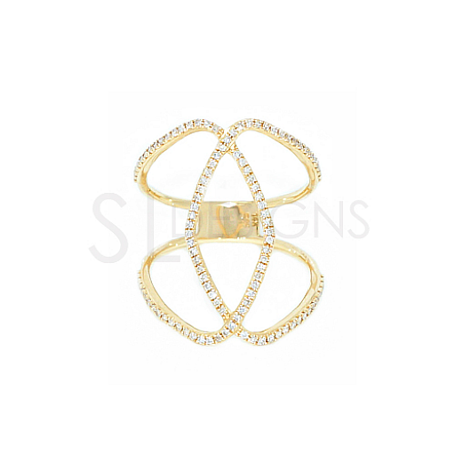 Yellow Gold Diamond Cigar Ring