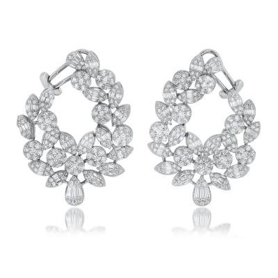 Silver Cluster Of Assorted Faux Diamond Cocktail Earrings