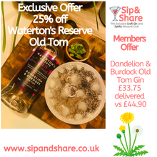 Load image into Gallery viewer, 25% Off - Waterton's Reserve, Dandelion & Burdock Old Tom Gin 70cl
