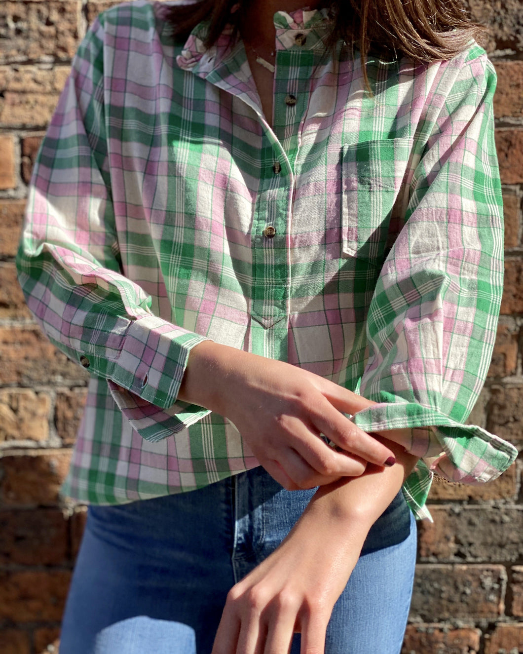 Bella Shirt in Pink/Green