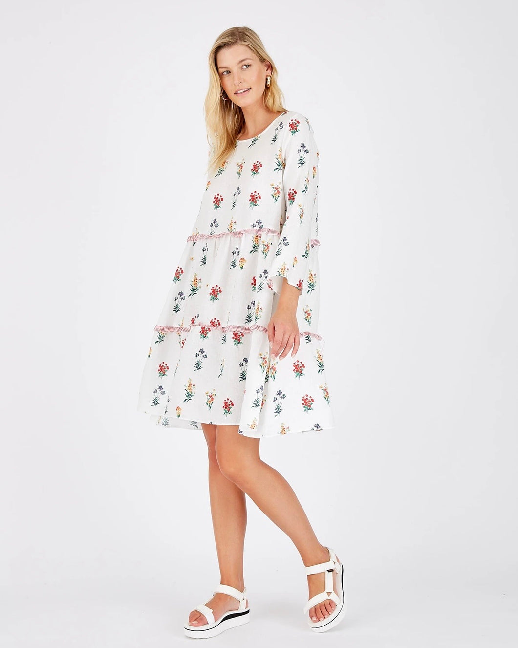 White Floral Toffee Dress by Alessandra