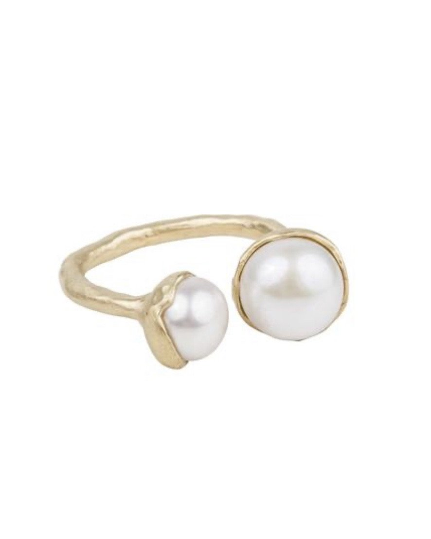 Double Pearl Ring - Gold by Fairley