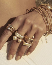 Load image into Gallery viewer, Gold Pearl Bar Ring by Fairley