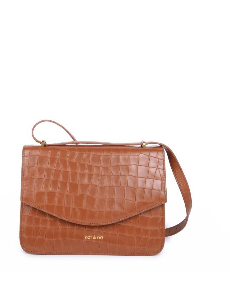 Hermione Bag by Nat & Nin in Croc Ambre