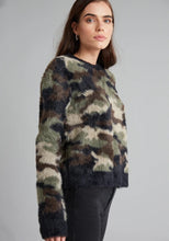 Load image into Gallery viewer, Crew Neck Sweater in Fuzzy Camo by Bella Dahl