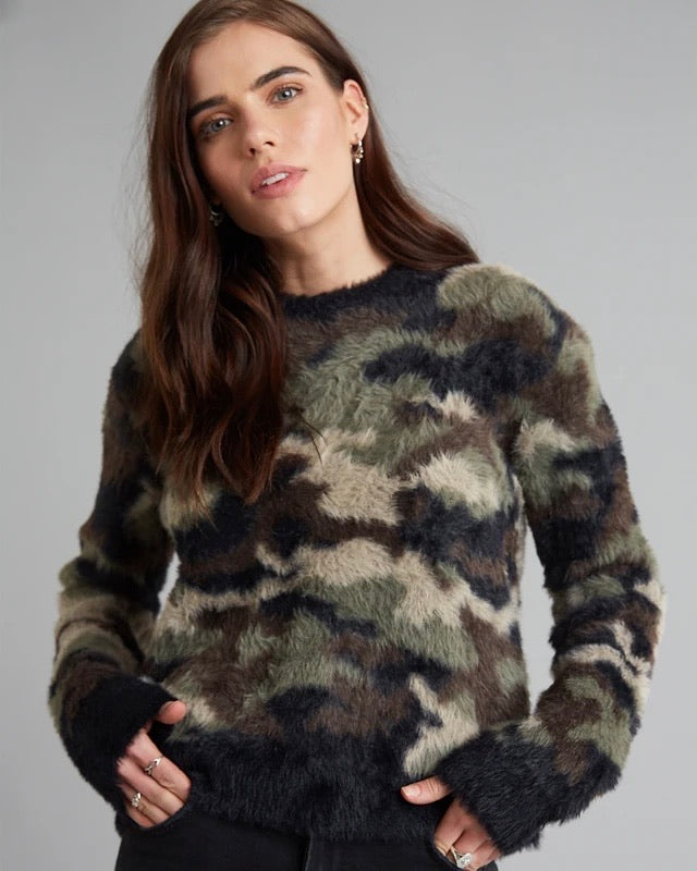 Crew Neck Sweater in Fuzzy Camo by Bella Dahl