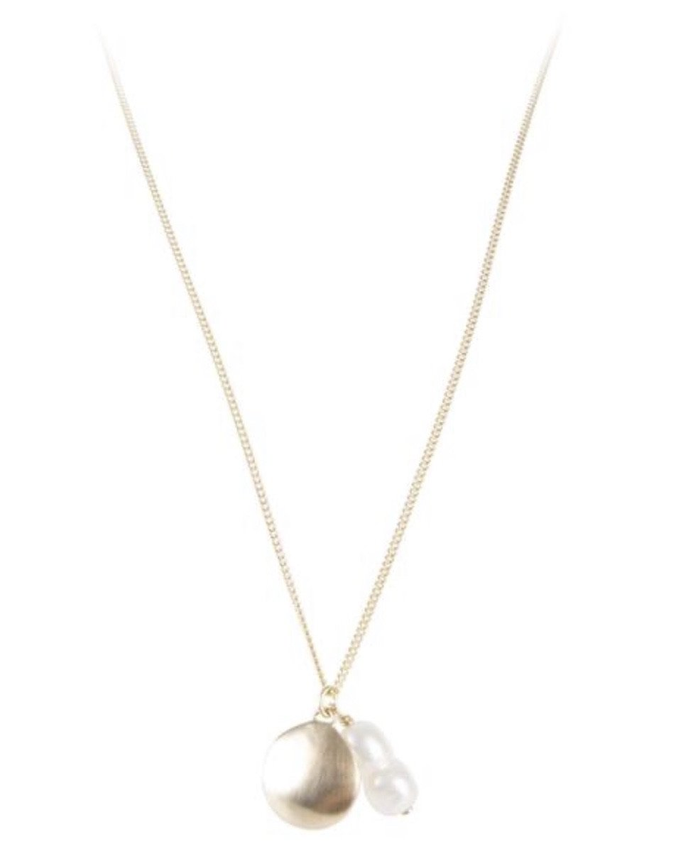Gold Pearl Petal Necklace by Fairley