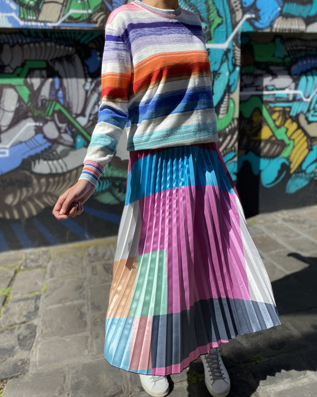 Pleated Skirt in Pastel Block