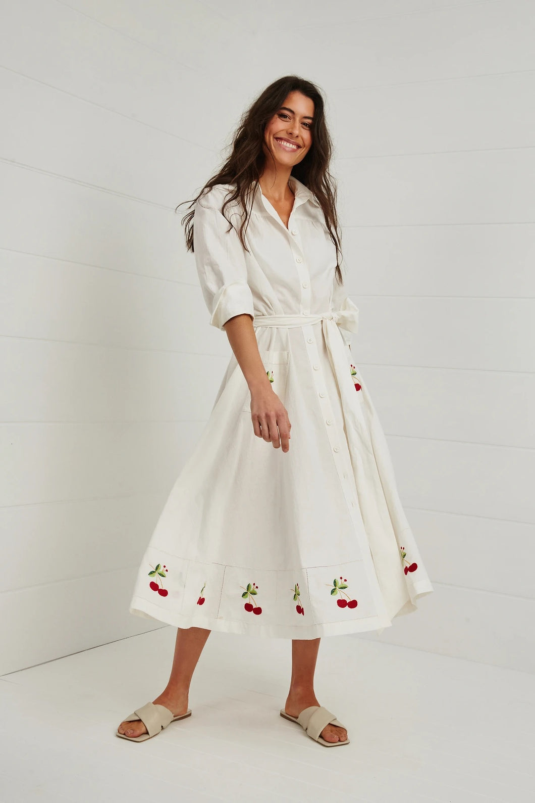 A Cherry Cherry Christmas Shirt Dress by Binny