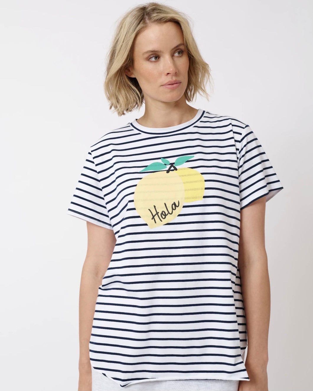 Hola Lemon Tee in White/Navy by Alessandra